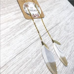 NWT LA BOHEME gold dipped feather dangle e…